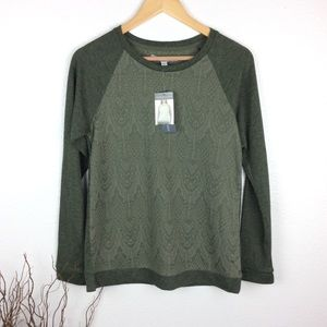 *New* Adrienne Vittadini Olive Lace Sweatshirt